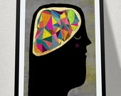BRAIN art print // colorful illustration // body anatomy head // geometric digital painting