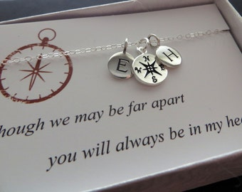 Friendship initial necklace, personalized friendship jewelry, compass charm, bff necklace, going away