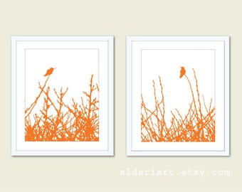 Hummingbirds and Branches - Digital Print Set - Tangerine Orange - Modern Birds Wall Art - Woodland -  Spring Summer Home Bird on Twig Decor