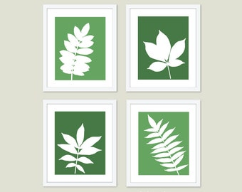 Botanical Leaves Digital Print Set  - Modern Wall Art  - Autumn Fall Decor  - Nature Home Decor - Emerald Green
