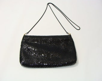 Vintage Black Mesh Handbag With Gold Detail