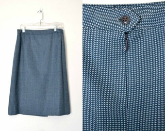 60s blue checkered wool skirt / pin check skirt / plus size / size 16 / L