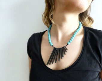 tribal minimalist necklace - black sticks and turquoise beads - contemporary jewelry