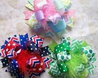 Spring/Summer Holiday Hair Bow Set, Over the Top Hair Bow Set, 3 Full Size Over The Top Bows, Valentines Day, St. Patricks, Easter