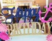 Navy Pink Coral Gold Glitter Happy Birthday Cake Topper Gold Flower Girl Nautical Birthday KYRA design