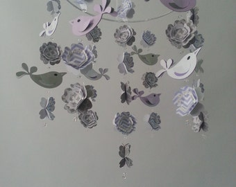 Love Bird Baby Mobile in Lavenders and Gray WithOUT the Branch