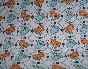 Orange Vintage Floral Fabric by the Yard  Vintage Happy by Lori Holt for Riley Blake Designs