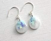 opal drop earrings on sterling silver ear wires