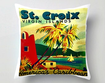 St Croix Pillow Cover, US Virgin Islands Pillow, St Croix Wedding Gift, Virgin Islands Wedding Gift, St Croix Art Pillow, aqua Throw Pillow