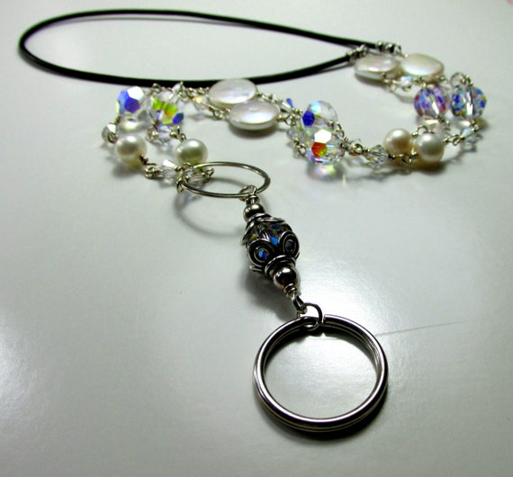 ID Badge and/or Eye Glass Holder - Sterling Silver, Swarovski Crystals, and Pearls