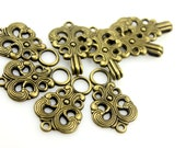 HOOK And EYE Fasteners - Baroque Swirl Cloak Clasp Antique Brass Fasteners. 5 Pairs.
