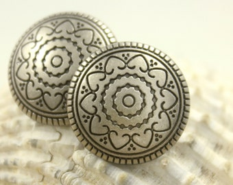 Metal Buttons - Hearts Flower Metal Buttons , Nickel Silver Color , Shank , 0.71 inch , 10 pcs