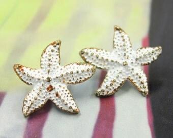 Metal Buttons - Seastar White Rust Shank Metal Buttons. 0.75 inch , 6 pcs
