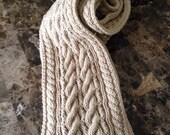 Hand knitted men's scarf, reversible cable knit, tan color