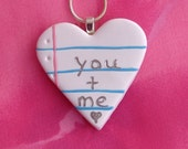 Notebook Jewelry - You Plus Me Heart Necklace/Handmade/Heart Charm/Girlfriend Jewelry/Couple Jewelry/Anniversary