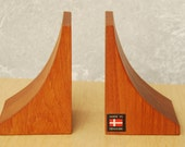 Danish Modern Solid Teak Sculpted Bookends