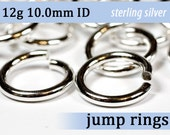 12g 10.0mm ID sterling silver jump rings -- 12g10.00 jumprings 925 jewelry supplies findings links