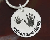 Me and My Pal   {Actual Handprints } Necklace or Key Ring