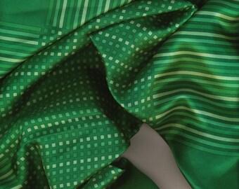 Anne Klein Silk Scarf vintage green fringed stripes