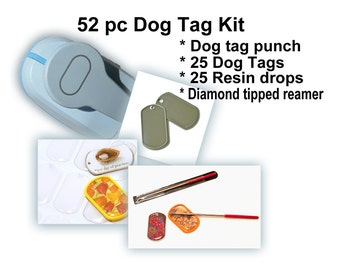 Dog Tag Kit 52pcs Includes: Dogtag paper punch,  25 dogtags,  25 dogtag resins & diamond tipped reamer. DIY buisness, party or wedding favor