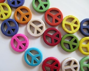 20mm Imitation Turquoise Peace Sign Beads, Symbol Beads in Sky Blue, Pink, Red, Purple, White, Orange, Green and Violet, 8 Pieces