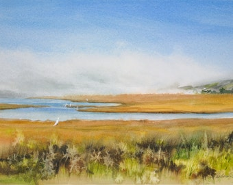 Bodega Bay, Watercolor Print, Birds, Estuary, Sanctuary, Egret, Coastal, Fog, Northern California