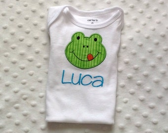 Baby Boy  Personalized Smiling Frog Bodysuit