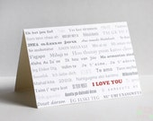 I Love You in Languages Card