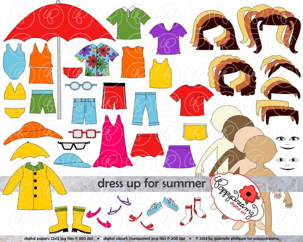 Dress Up for Summer Clothing and Paper Doll Clipart Set