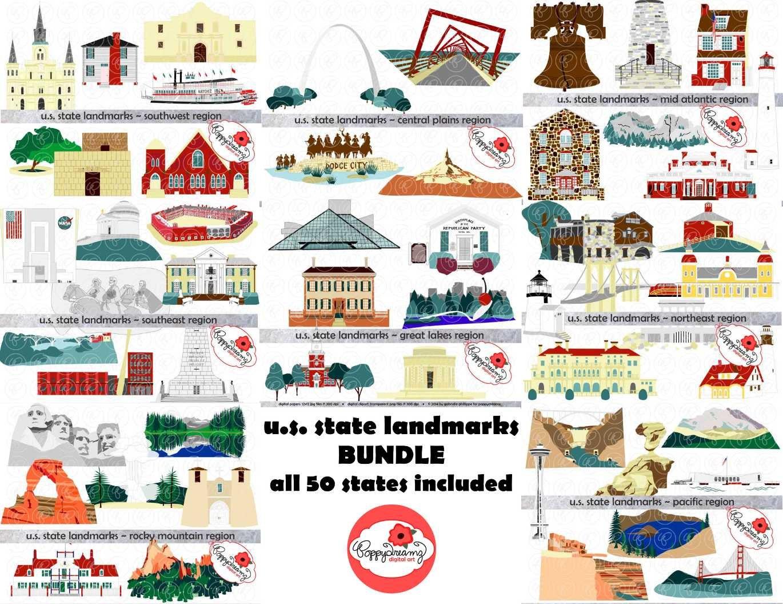 U s state landmarks mega bundle digital clipart pack 300 for List of us landmarks