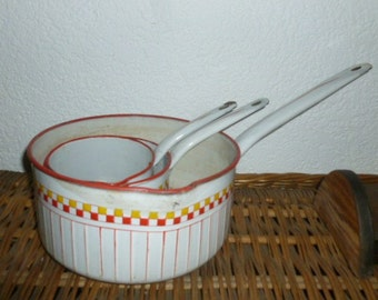 Graniteware Enamelware Kitchenware Cooking Pots Art Deco Red Yellow White Check Stripe, Set of 3
