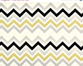 CLOSING SHOP Home Dec Fabric Yardage - Chevron Stripe -Gray, Yellow/gold , White, Dark Brown, Natural - 1 yard