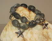 Labradorite Nuggets and Heart Lobster Claw Bracelet with Starfish Charm