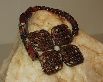 Metal Flower Stretch Bracelet with Jasper Beads and Copper Charm