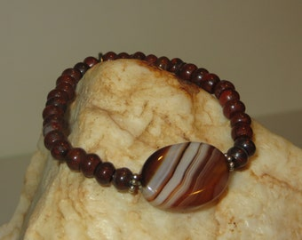 Agate and Jasper Stretch Bracelet with Daisy Spacers and Peace Charm