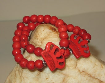 Red Magnesite Crown and Beads with Daisy Spacers