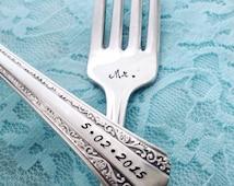 """Mr. & Mrs. vintage wedding salad forks Rogers """"gracious"""", hand stamped"""