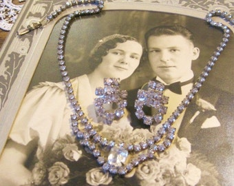 1950s Bridal Demi Necklace and Earrings Larger Emerald Focal Stone Rhinestoned Chain