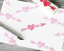 heart arrow stamp, arrow rubber stamp, love arrow stamp, heart with arrow, handmade stamp, hand carved rubber stamp, cupid's arrow