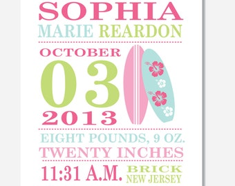 GIRL Birth Announcement Print -- SURFBOARDS --  8 x 10 - Canvas also available