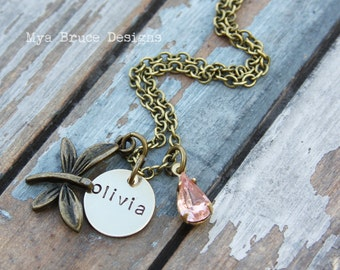 Little girl Antique gold butterfly design with personalized circle and vintage pink drop f
