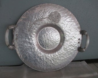 Mid Century Chrysanthemum Forged Aluminum Metal Tray With Handles By Gatormom13