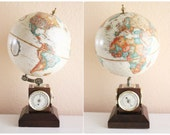 Vintage 9 Inches Replogle Globe with Weather Gauges // Barometer , Thermometer , Hygrometer, Item No 72016