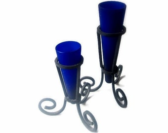 Cobalt Blue Glass Vases on Wrought Iron Tripods