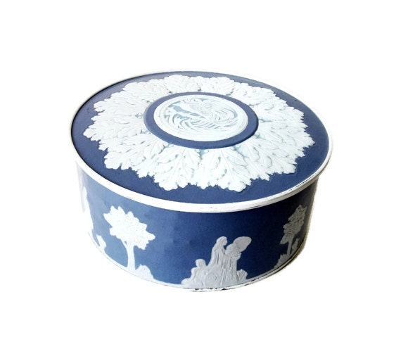 Blue and White Biscuit Tin - Vintage Guildcraft Wedgewood-Style