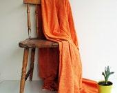 Cotton & Velvet Handwoven Orange Soft Warm Blanket,Seat Cover,Bedspread Naturel Ecofriendly Sofa,Seat Covers