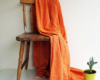 Cotton & Velvet Handwoven Orange Soft Warm Blanket,Seat Cover,Bedspread Naturel Ecofriendly Sofa,Seat Covers