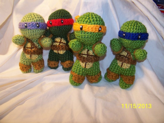 Crochet Ninja Turtle : Crochet Teenage Mutant Ninja Turtle rattle toys 5 inch crochet turtles