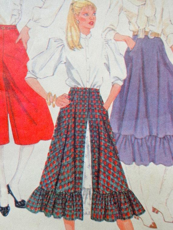 Gauchos Culottes Pattern McCalls 8101 Skirt w Ruffles ...
