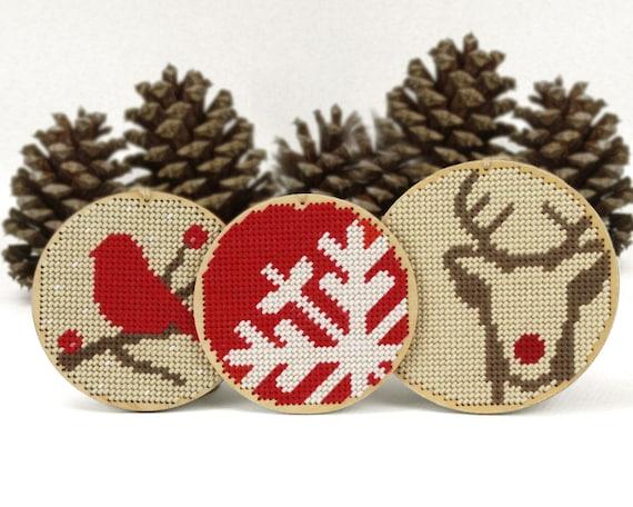 christmas ornament needlepoint kit diy by ModernNeedleworks